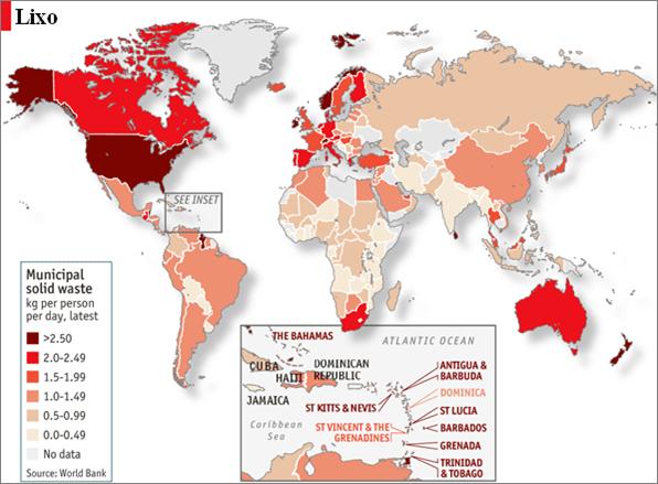 Produção de lixo no mundo